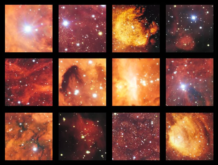 This montage shows a few of the highlights from a spectacular image from the VLT Survey Telescope showing the Cat's Paw Nebula (NGC 6334) and the Lobster Nebula (NGC 6357). This part of the sky contains active regions of star formation where hot young stars make their surrounding clouds of hydrogen glow with a characteristic red colour. There are also clouds of dark dust in this rich celestial landscape. – Image Credit: ESO