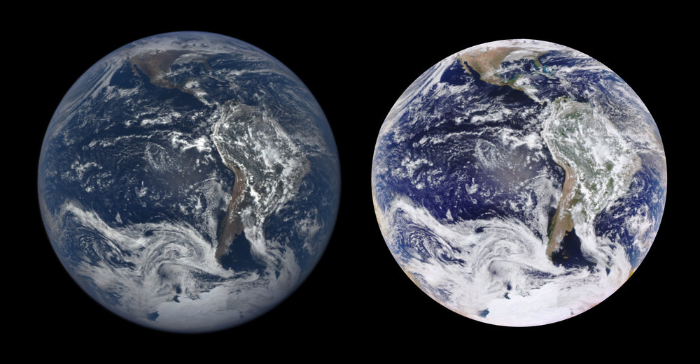 An EPIC Natural Color image (left) and an Enhanced Color image (right) of the Earth on January 26, 2017. – Image Credits: NASA/NOAA