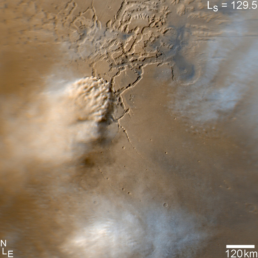 Image capturing an active dust storm on Mars. - Image credits: NASA/JPL-Caltech/MSSS
