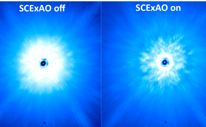 Comparison of images taken from existing, facility instrument (AO 188 + HiCIAO, left) and the newly commissioned instrument (AO 188 + SCExAO, right). - Image Credit:  NAOJ