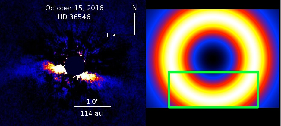 The debris disk detected around a young star HD 36546 using SCExAO/HiCIAO (left, seen nearly edge-on) and its model (right, viewed face-on). - Image Credit:  NAOJ
