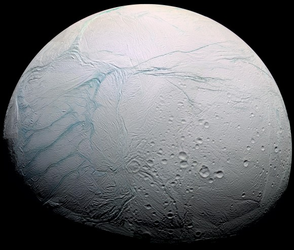 "This image of Enceladus shows the features known as ""Tiger stripes"". They are the source of the vapor plumes that erupt from the surface. - Image Credit: Cassini Imaging Team, SSI, JPL, ESA, NASA"