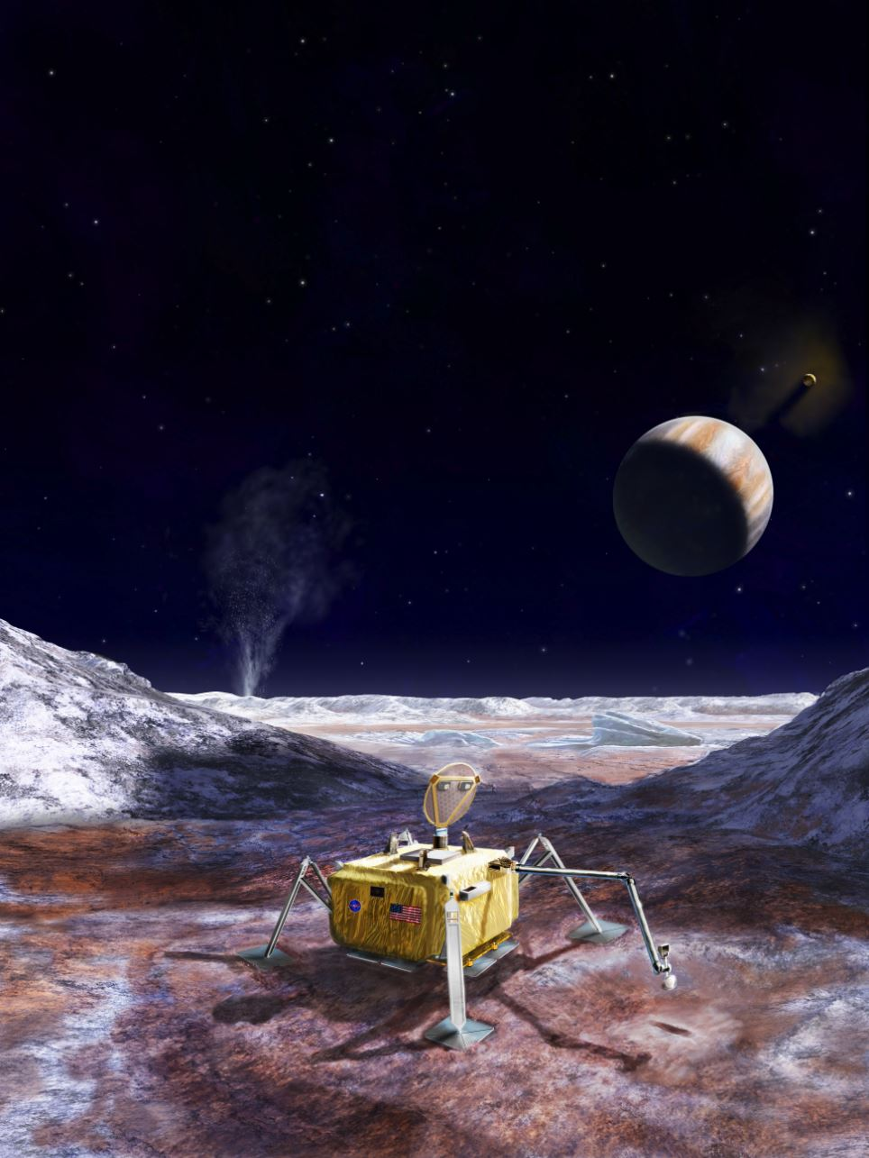 This artist's rendering illustrates a conceptual design for a potential future mission to land a robotic probe on the surface of Jupiter's moon Europa. - Image Credit: NASA/JPL-Caltech