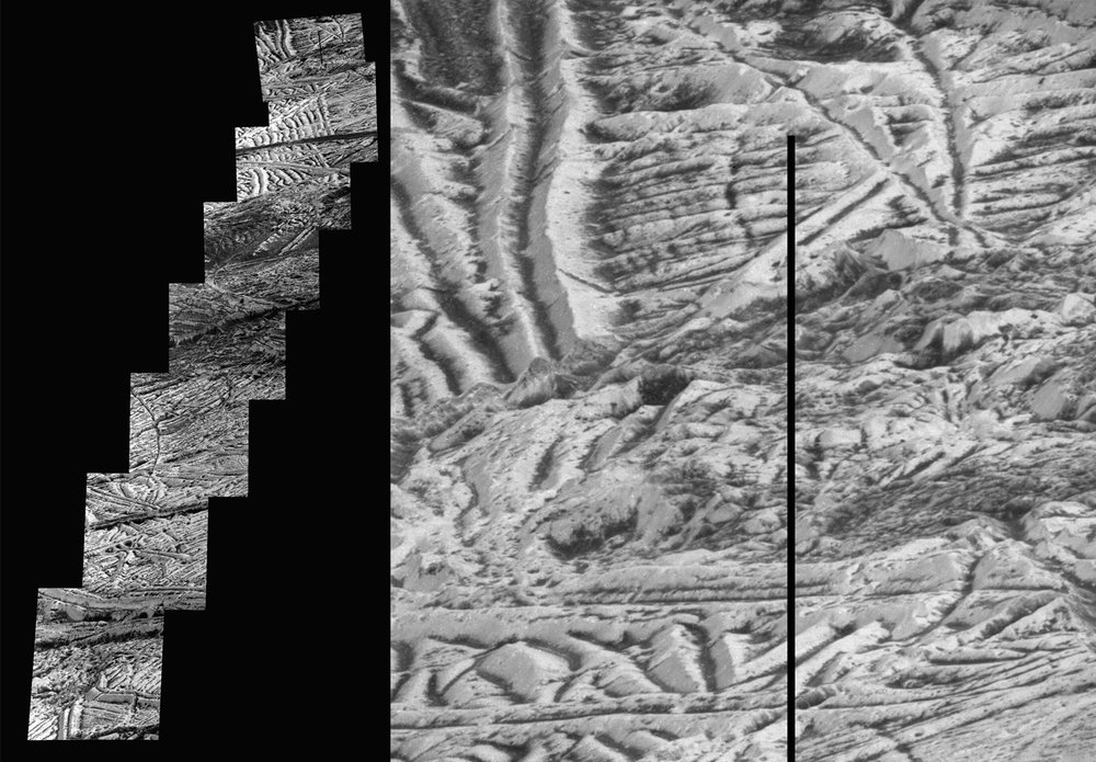 This mosaic of images includes the most detailed view of the surface of Jupiter's moon Europa obtained by NASA's Galileo mission. This is the highest resolution view of Europa available until a future mission visits the icy moon. – Image Credit: NASA/JPL-Caltech
