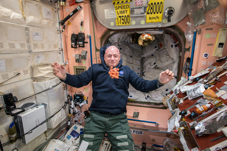Scott watches a bunch of fresh carrots at the ISS. - Image Credit: NASA