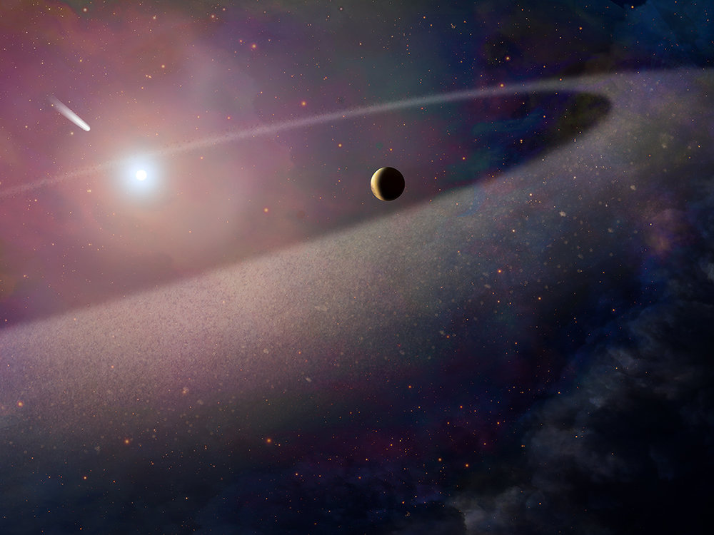 This artist's concept shows a massive, comet-like object falling toward a white dwarf. - Illustration: NASA, ESA, and Z. Levy (STScI); Science: NASA, ESA, and S. Xu (European Southern Observatory)