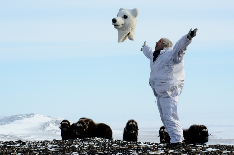 A polar bear turns human. - Image Credit: Joel Berger, Author provided