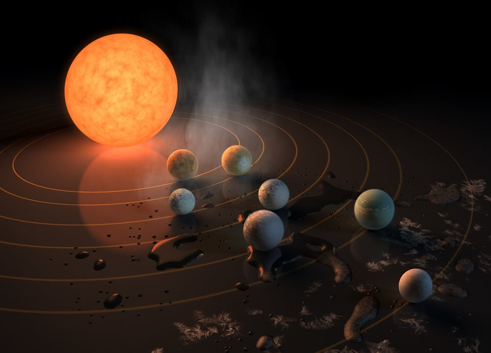 Artist's concept of the TRAPPIST-1 star system, an ultra-cool dwarf that has seven Earth-size planets orbiting it. - Image Credits: NASA/JPL-Caltech