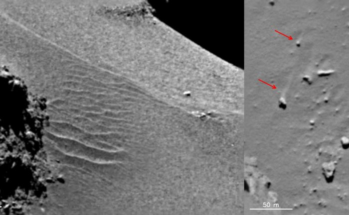 Features in the Hapi region show evidence of local gas-driven transport producing dune-like ripples (left) and boulders with 'wind-tails' (right) – where the boulder has acted as a natural obstacle to the direction of the gas flow, creating a streak of material 'downwind' of it. The images were taken with the OSIRIS narrow-angle camera on 18 September 2014. - ImageCredit: ESA/Rosetta/MPS for OSIRIS Team MPS/UPD/LAM/IAA/SSO/INTA/UPM/DASP/IDA