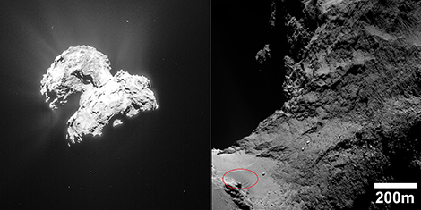 Left, an image of comet Chury showing outgassing of water vapor, which entrains dust (© ESA/Rosetta/NAVCAM). Right, the neck region, between the comet's two lobes. Various types of relief can be seen, including the dunes, at bottom left (circled in red), in the sandy region. - Image Credit: ESA/Rosetta/MPS for OSIRIS Team MPS/UPD/LAM/IAA/SSO/INTA/UPM/DASP/IDA)