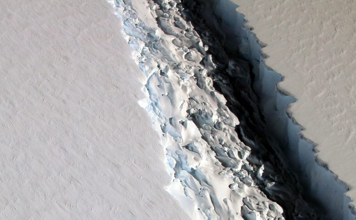 The rift in the Larsen C Ice Shelf. - Image Credit: NASA/John Sonntag