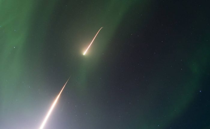 A NASA Black Brant IX sounding rocket soars skyward into an aurora over Alaska during the launch on 5:13 a.m. EST, Feb. 22, 2017. Credit: NASA/Terry Zaperach