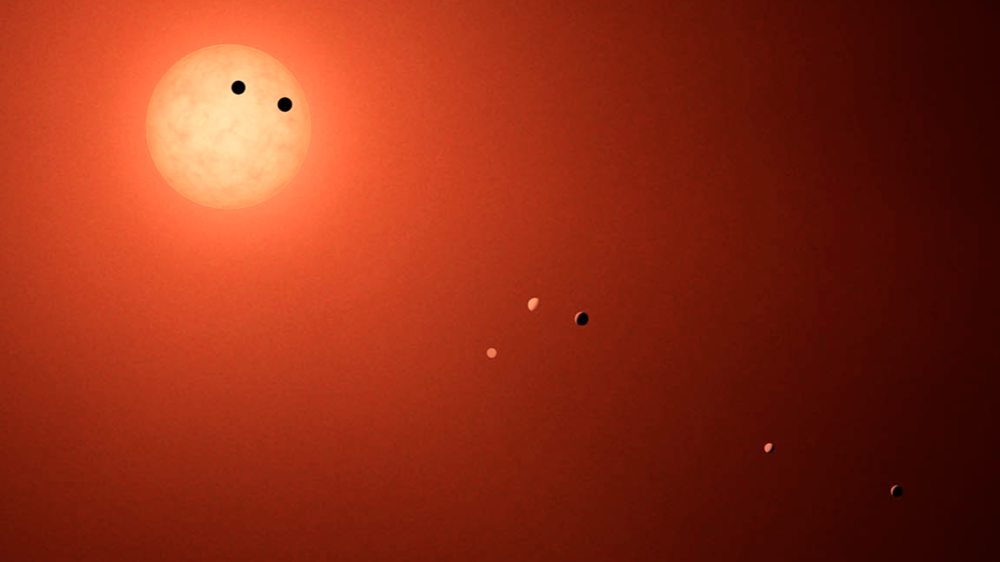 This illustration shows the seven planets orbiting TRAPPIST-1, and ultra-cool dwarf star, as they might look as viewed from Earth using a fictional, incredibly powerful telescope. - Image Credits: NASA-JPL/Caltech