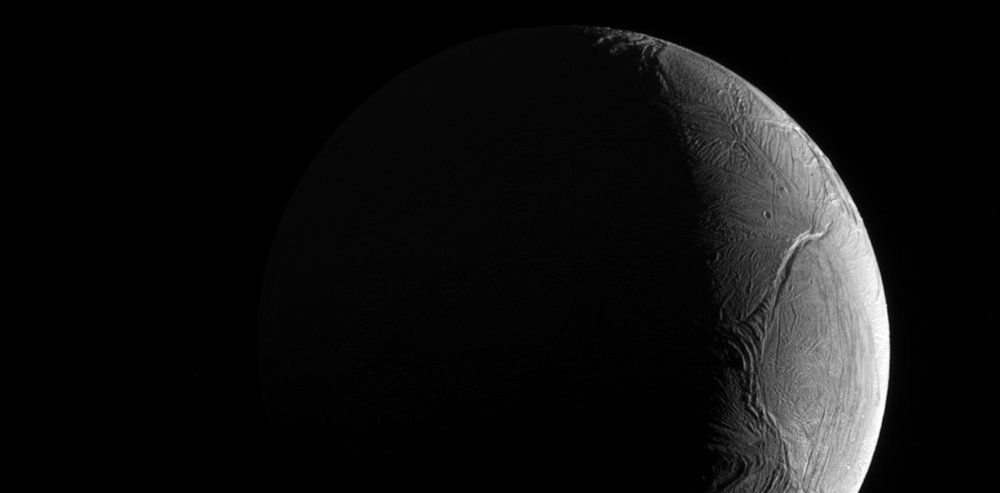 A likely candidate for life: Saturn's icy moon Enceladus. - Image Credit:  NASA/JPL-Caltech/Space Science Institute