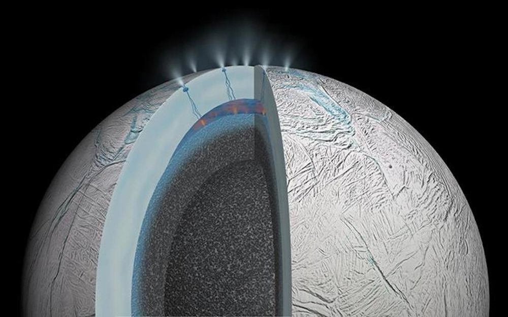 An artist's rendering of Saturn's moon Enceladus shows possible hydrothermal activity that may take place on and under the seafloor of the moon's subsurface ocean. - Image Credit: NASA/JPL-Caltech
