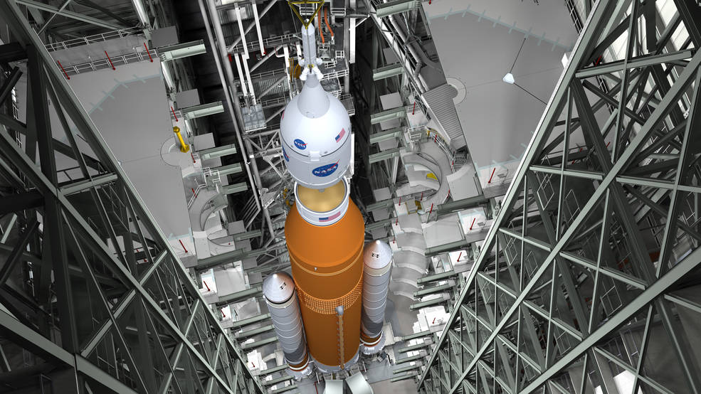 Artist concept of the SLS Block 1 configuration on the Mobile Launcher at KSC. - Image Credit: NASA/MSFC