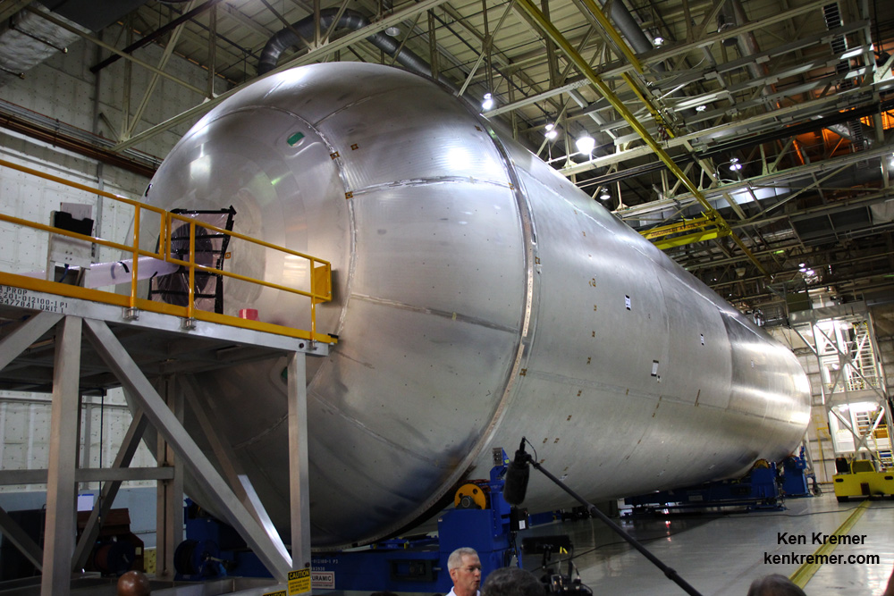 The liquid hydrogen tank qualification test article for NASA's new Space Launch System (SLS) heavy lift rocket lies horizontally after final welding was completed at NASA's Michoud Assembly Facility in New Orleans in July 2016. - Image Credit: Ken Kremer/kenkremer.com