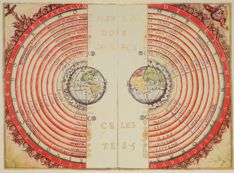 An illustration of the Ptolemaic geocentric system by Portuguese cosmographer and cartographer Bartolomeu Velho, 1568. - wikipedia