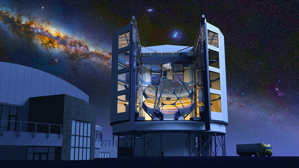 An artist's concept of the completed Giant Magellan Telescope which will be situated in the Atacama Desert some 115 km (71 mi) north-northeast of La Serena, Chile. - Image Credit:  GMTO/WikimediaCommons