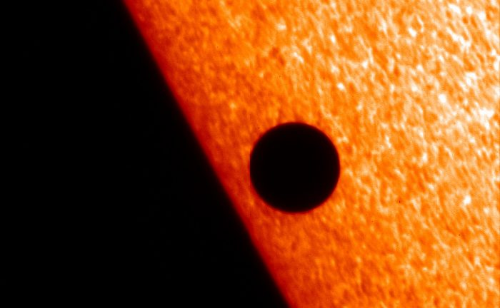 NASA's Hinode X-ray telescope captured Mercury in transit against the Sun's corona in Nov. 2006. Similar views are possible in H-alpha light. - Image Credit: NASA