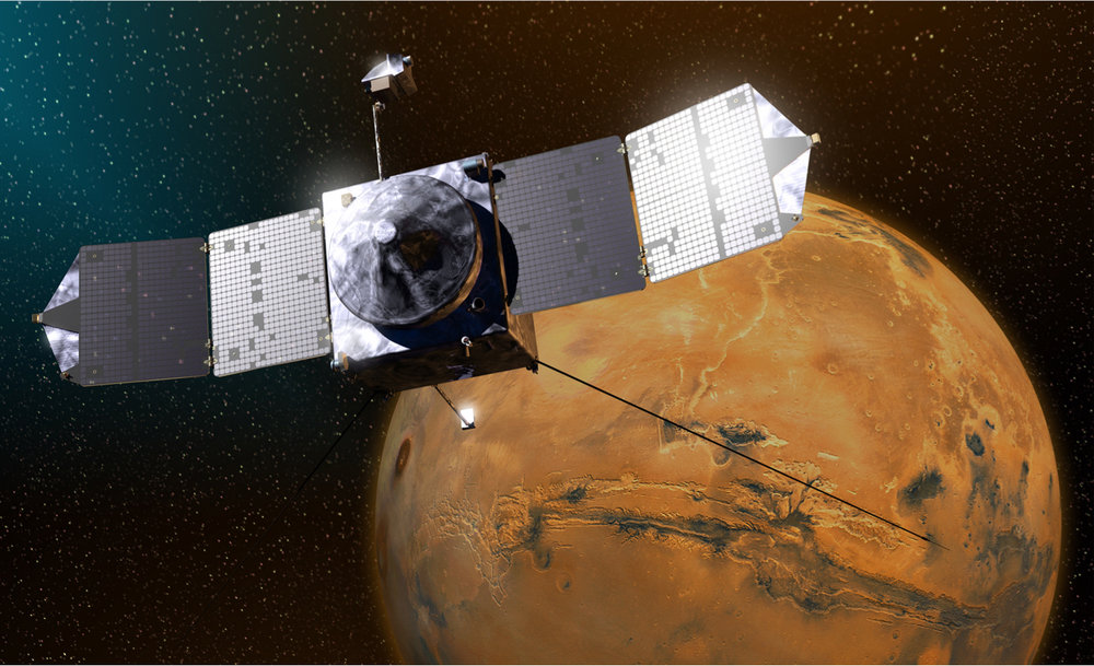 This artist's sketch shows MAVEN above Mars. – Image Credits: Lockheed Martin