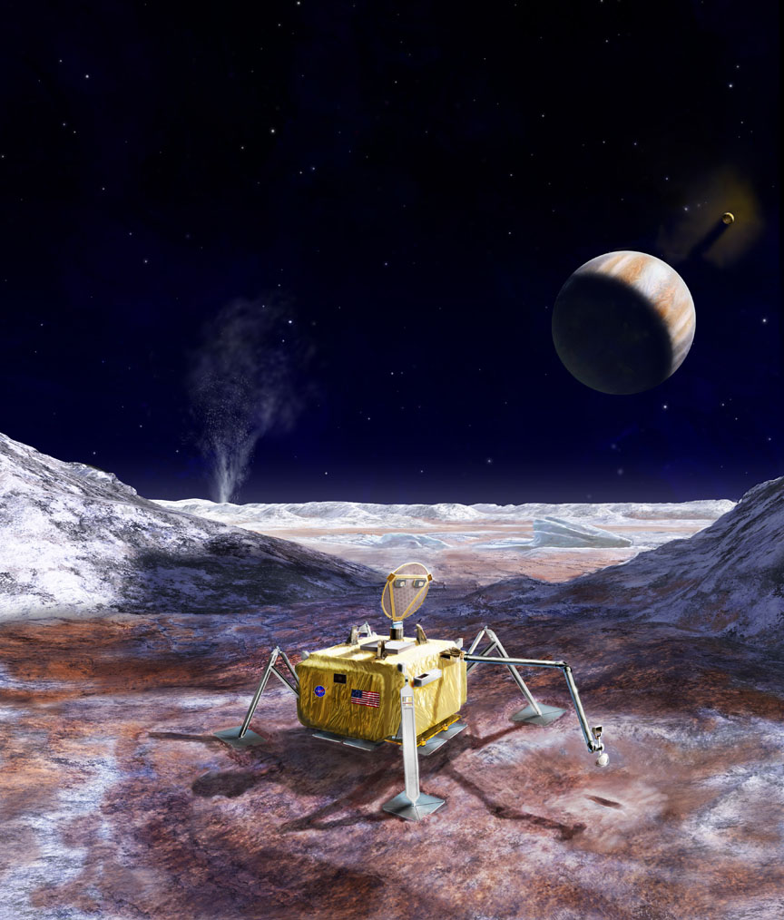 Artist's rendering of a potential future mission to land a robotic probe on the surface of Jupiter's moon Europa. - Image Credits: NASA/JPL-Caltech