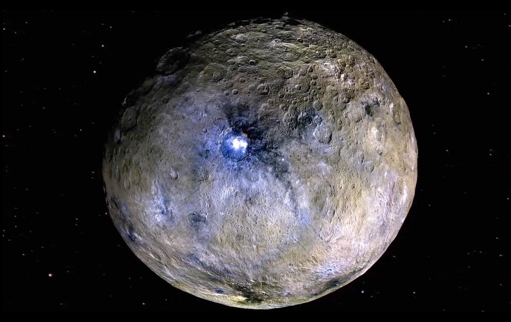 Dwarf planet Ceres is shown in this false-color renderings, which highlight differences in surface materials. The image is centered on Ceres brightest spots at Occator crater. - Image Credit: NASA/JPL-Caltech/UCLA/MPS/DLR/IDA
