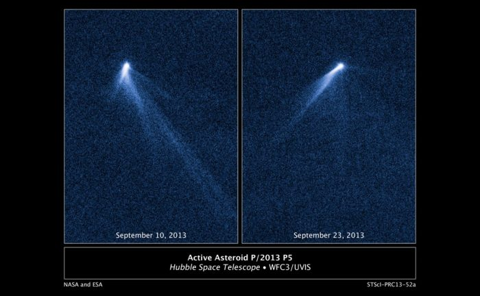 Images from the Hubble Space Telescope of activated asteroid P/2013P5 where the dust tail can be seen. - Image Credit: NASA/ESA.
