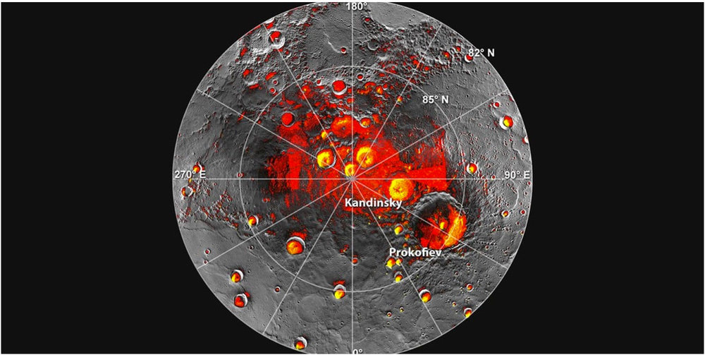 View of Mercury's north pole. based on MESSENGER probe data, showing polar deposits of water ice. - Image Credit: NASA/JHUAPL/Carnegie Institute of Science/NAIC/Arecibo Observatory