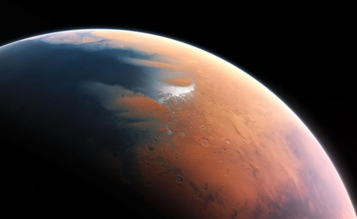 An artist's impression of what Mars might have looked like with water, when any potential Martian microbes would have evolved. - Image Credit: ESO/M. Kornmesser