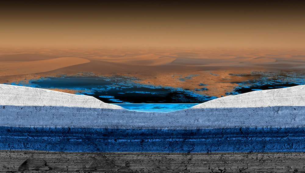 Artist's conception of a possible structure for underground liquid reservoirs on Saturn moon's Titan. - Image Credit: ESA/ATG medialab