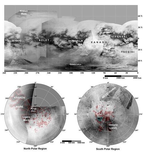 Updated maps of Titan, based on the Cassini imaging science subsystem. - Image Credit: NASA/JPL/Space Science Institute