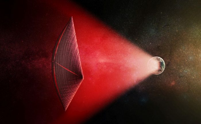 An artist's illustration of a light-sail powered by a radio beam (red) generated on the surface of a planet. Could the part of the beam that misses the sail be our mysterious Fast Radio Bursts? - Image Credit: M. Weiss/CfA