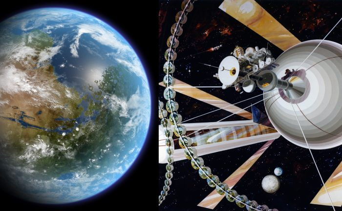 Artist's concept of a terraformed Mars (left) and an O'Neill Cylinder. - Image Credit: Ittiz/Wikimedia Commons (left)/Rick Guidice/NASA Ames Research Center (right)