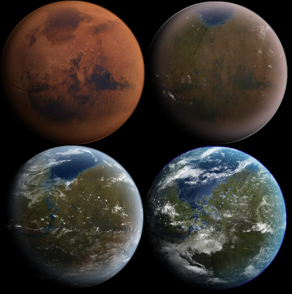 Artist's impression of the terraforming of Mars, from its current state to a livable world. - Image Credit: Daein Ballard/WikimediaCommons
