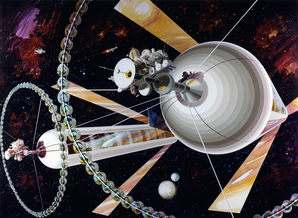 Artist's depiction of a pair of O'Neill cylinders. - Image Credit: Rick Guidice/NASA Ames Research Center