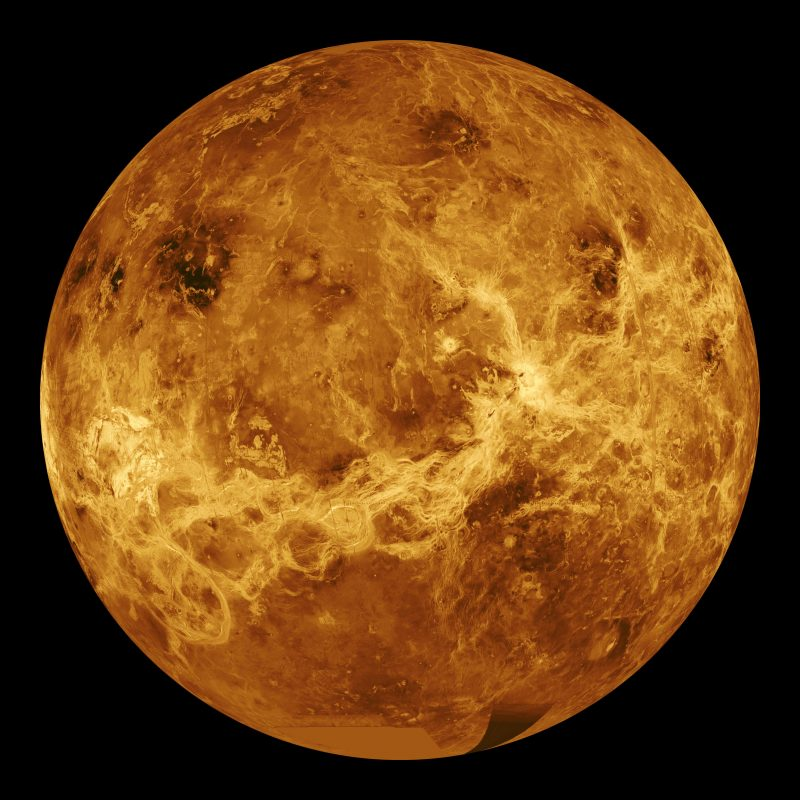 A radar view of Venus taken by the Magellan spacecraft, with some gaps filled in by the Pioneer Venus orbiter. - Image Credit: NASA/JPL