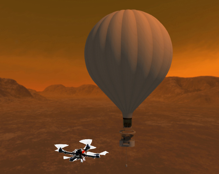 "Artist's concept of the Titan Aerial Daughter (TAD) quadcopter and its ""Mothership"" balloon. - Image Credit: NASA/STMD"