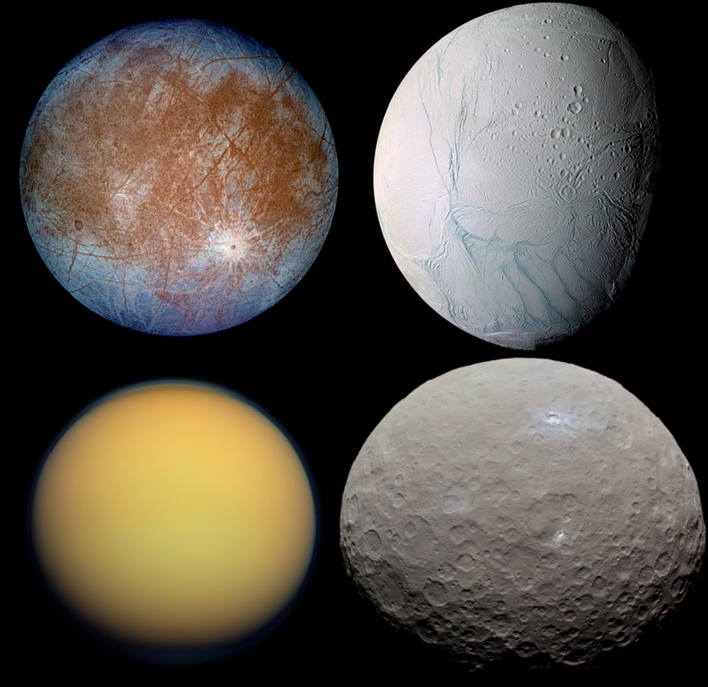 "A montage of some of the ""ocean worlds"" in our Solar System. From top to bottom, left to right, these include Europa, Enceladus, TItan and Ceres. - Image Credit: NASA/JPL"