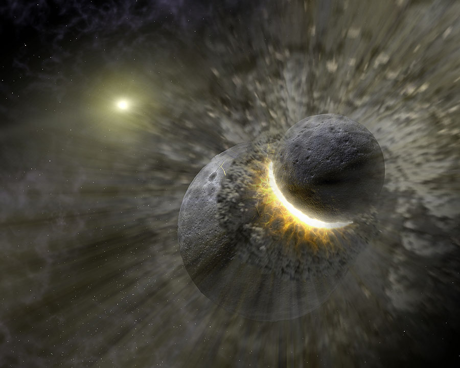 Artist's concept of a collision between proto-Earth and Theia, believed to happened 4.5 billion years ago. - Image Credit: NASA
