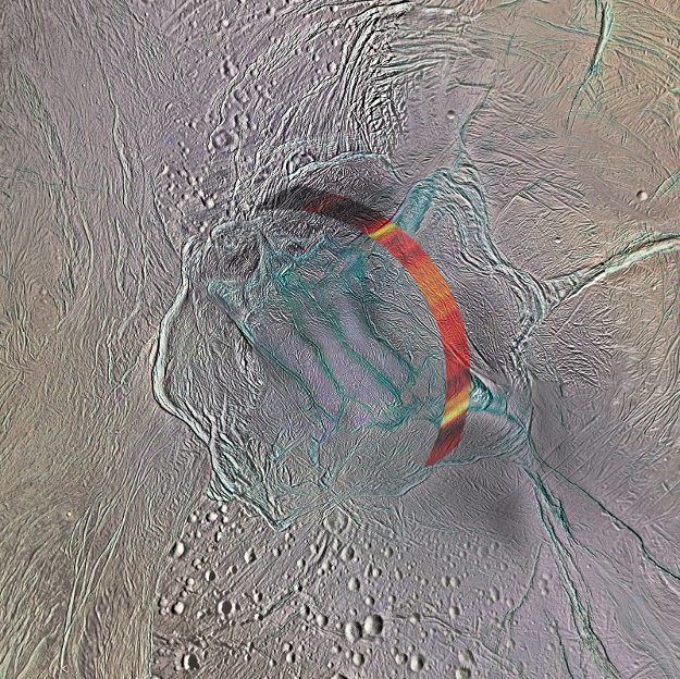 Tiger stripes on the south pole of Enceladus. The region studied is indicated by the coloured band. - Image Credit: NASA/JPL-Caltech/Space Science Institute; Acknowledgement: A. Lucas