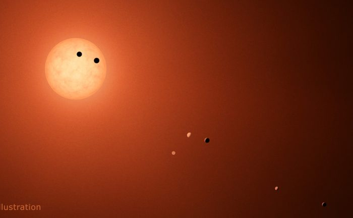 This illustration shows the seven TRAPPIST-1 planets as they might look as viewed from Earth using a fictional, incredibly powerful telescope. Credit: NASA/JPL-Caltech