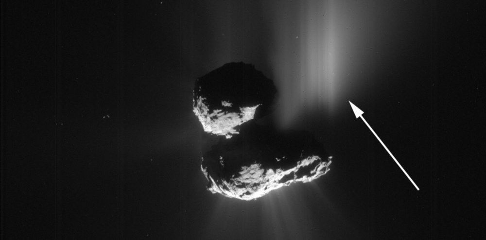 This comet 67P outburst was caused by a cliff collapse. - Image Credit: ESA/Rosetta/NavCam