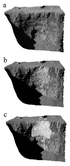 D views of the Aswan cliff showing its edge before (a) and after (b) the collapse. c) shows the dimensions of the overhang that detached.ESA/Rosetta/MPS for OSIRIS Team,  CC BY-SA