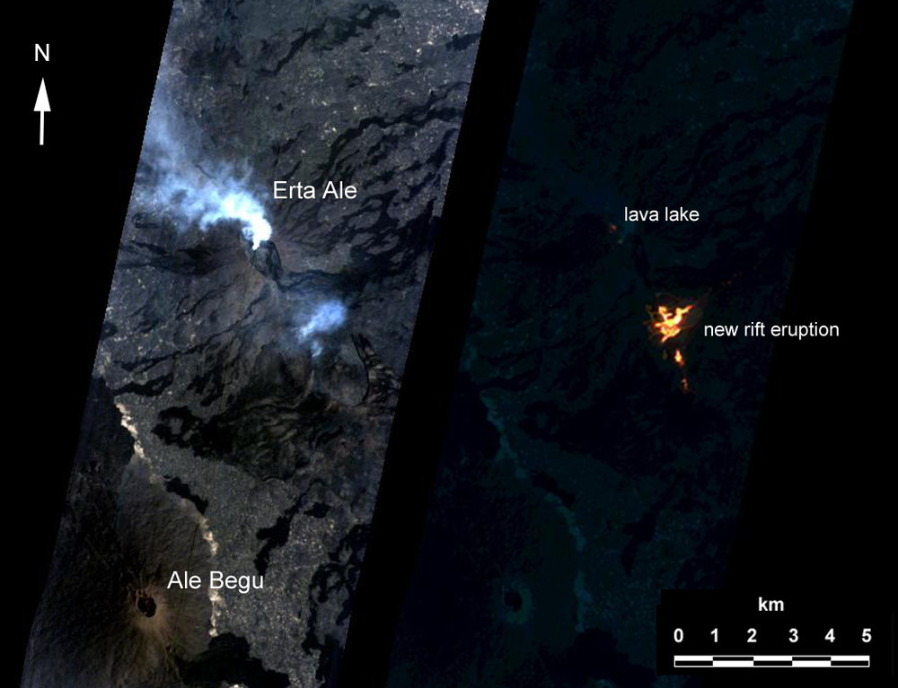Artificial intelligence onboard NASA's Earth Observing 1 (EO-1) spacecraft assisted in imaging an eruption at Erta'Ale volcano, Ethiopia, from an altitude of 438 miles (705 kilometers). The observation was scheduled autonomously via the Volcano Sensor Web, which was alerted to this new activity by data from another spacecraft. - Image Credits: NASA/JPL/EO-1 Mission/GSFC/Ashley Davies