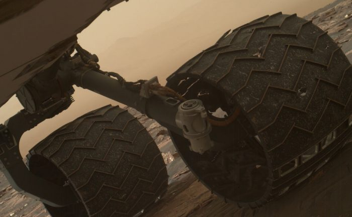 Image taken by the Mars Hand Lens Imager (MAHLI) of Curiosity's wheels on March 19, 2017. - Image Credit: NASA