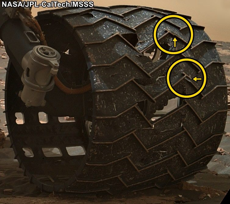 Close-up image of the broken grousers on Curiosity's left-middle wheel. - Image Credit: NASA/JPL-Caltech/MSSS