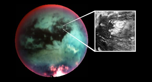 This false-color mosaic of Saturn's largest moon Titan, obtained by Cassini's visual and infrared mapping spectrometer, shows what scientists interpret as an icy volcano. - Image Credit: NASA/JPL/University of Arizona