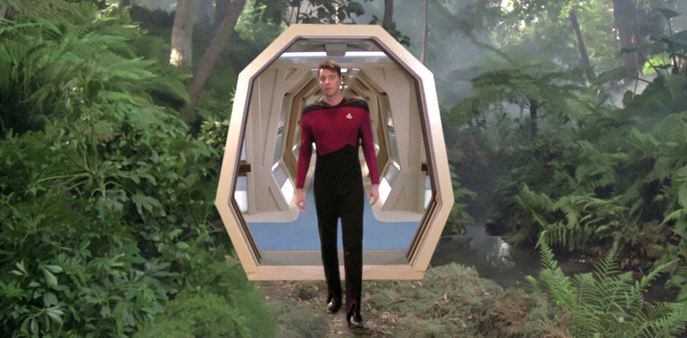 William Riker (Jonathan Frakes) entering a Holodeck simulation. - Image Credit:  Star Trek/Screenshot/Memory Alpha ,  CC BY-NC