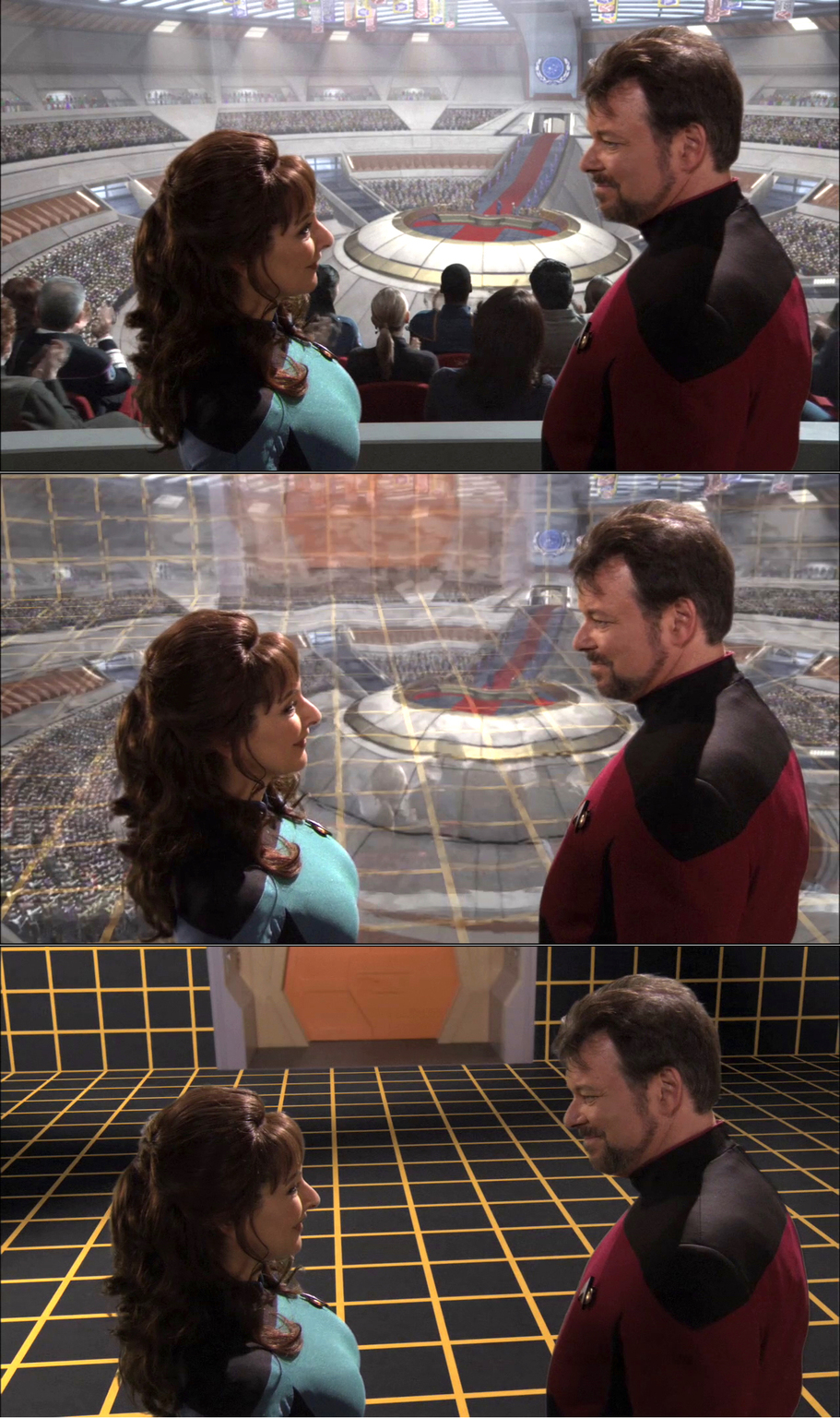 From Holodeck 'reality' to just an empty room with Counselor Deanna Troi (Marina Sirtis, left) and William Riker (Jonathan Frakes, right). - Image Credit:  Star Trek/Screenshot/Memory Alpha ,  CC BY-NC